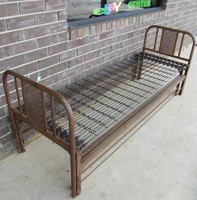 Antique Iron Metal Trundle Bed Youth Twin W Springs Modern