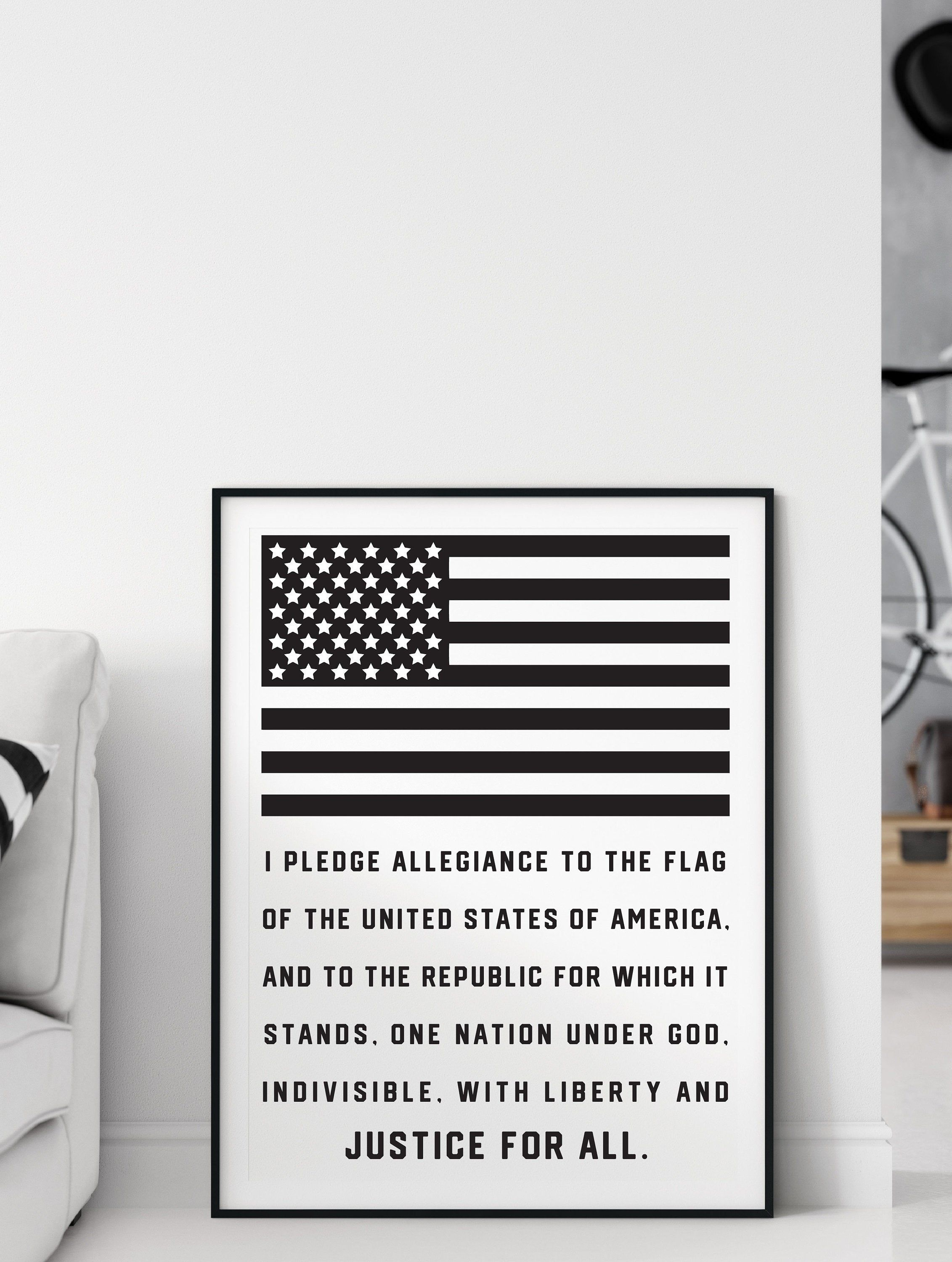 Pledge Of Allegiance Poster Wall Art Print Digital Download Etsy In 2020 Lyric Printable What Doe Mean To Me Republic Justice The