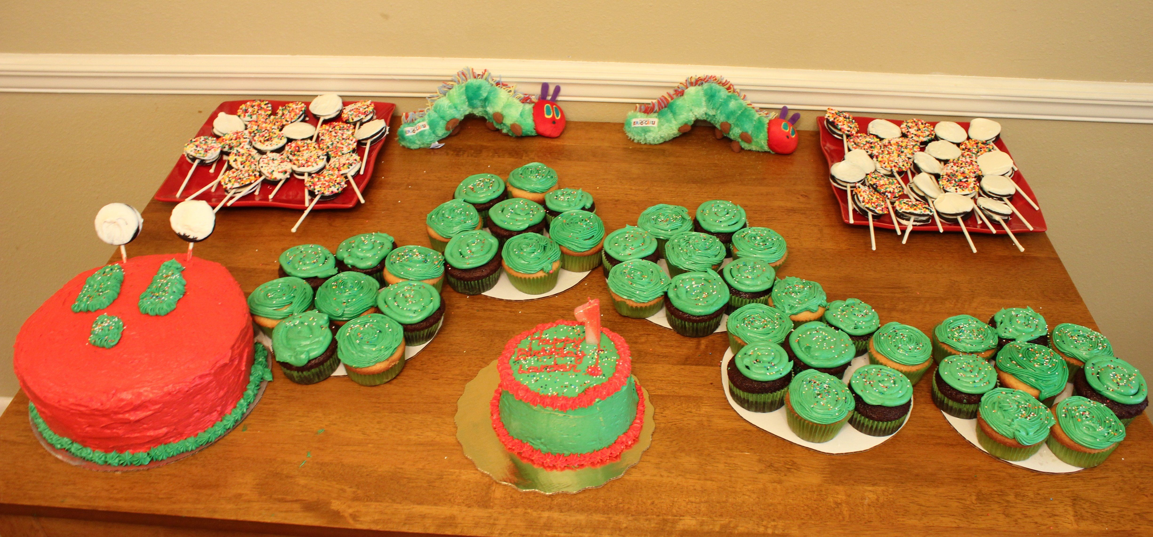 Landers Very Hungry Caterpillar 1st birthday set up So proud of
