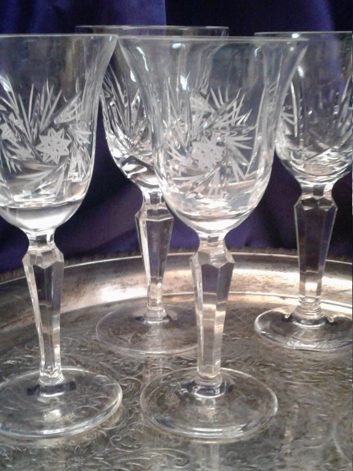 2fd2b6c76ca Leaded Cut Glass Crystal Wine Goblets