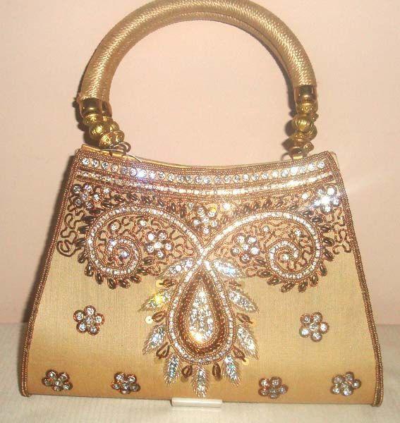 Hand Bag Purse Clutch Ethnic Indian Bead Sequin Evening Wedding Golden Handbag Beading Work Al 2285 Free Shipping
