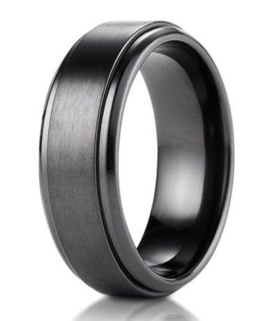 mens black titanium wedding band with step edge and satin finish