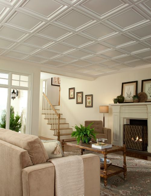 the existing suspended ceiling in this space was easily updated with 2u0027 x 2u0027