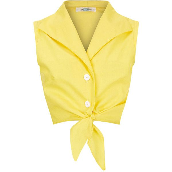 The Tie-front Shirt Yellow (€61) ❤ liked on Polyvore featuring tops, shirts, crop top, tank tops, yellow tank top, yellow crop tank, sleeveless tops, no sleeve shirts and yellow top