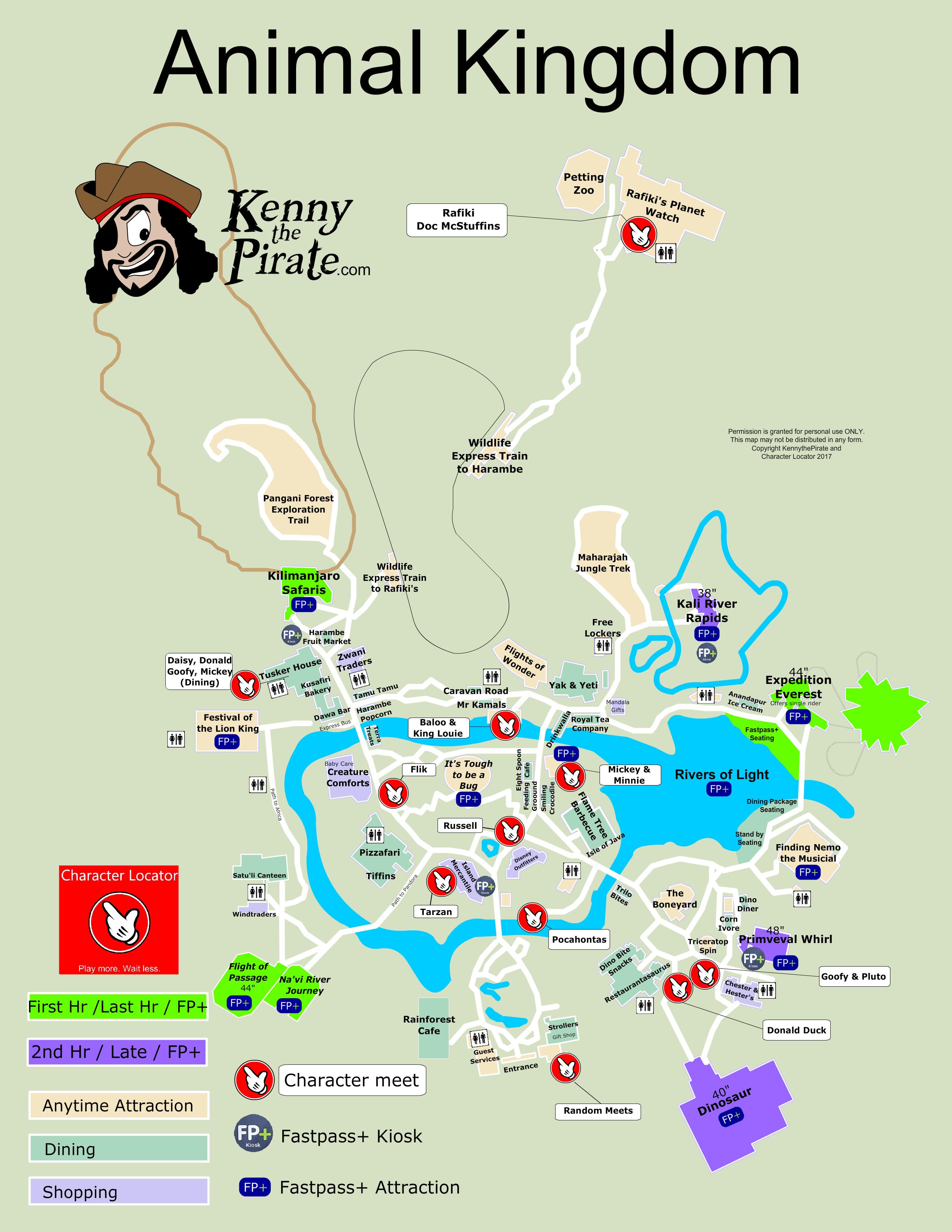 Animal Kingdom Map including Fastpass Plus locations | Disney ...