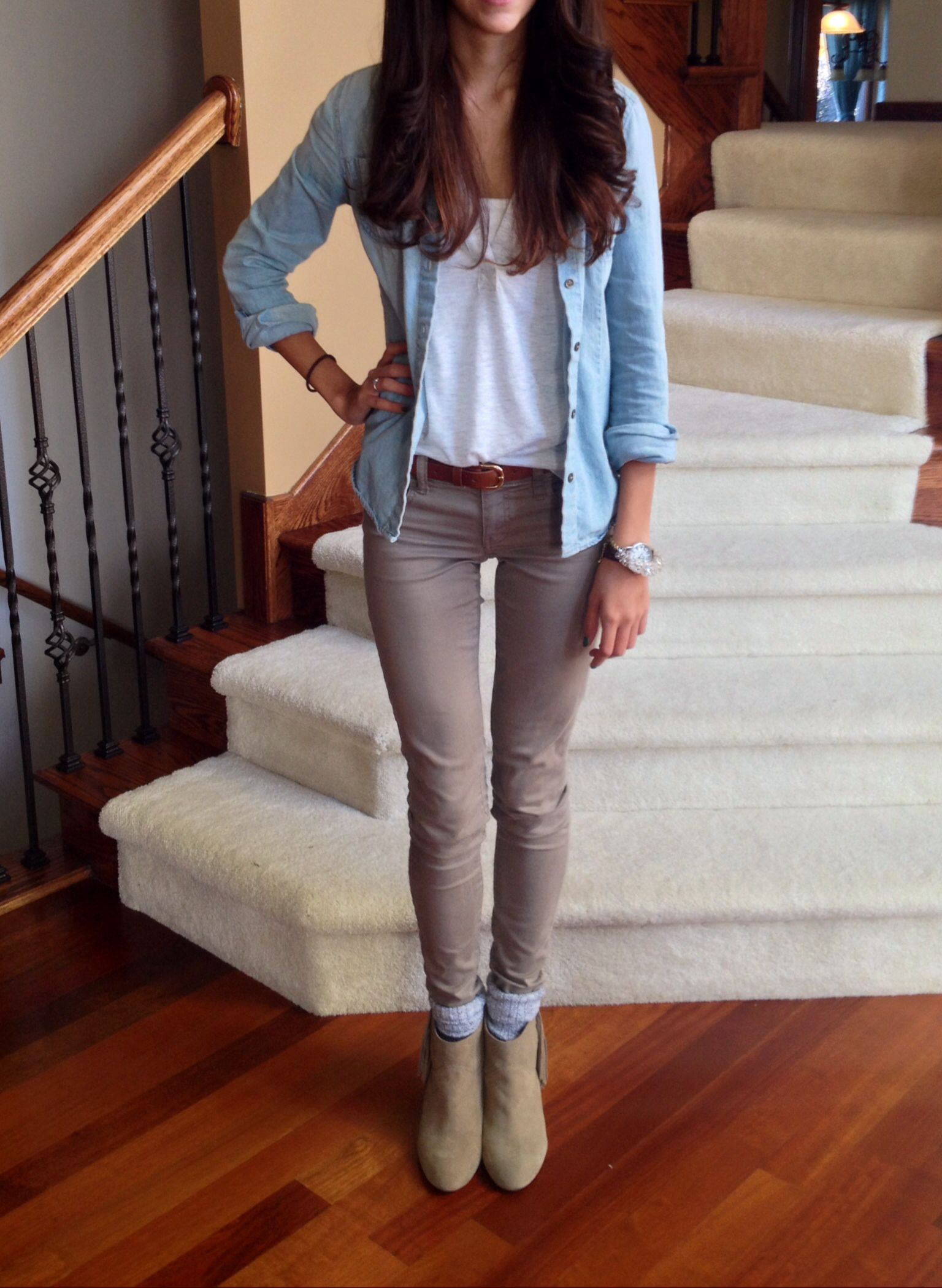 Taupe jeans fringe wedge booties chambray shirt fall outfit | Fashion | Pinterest | Chambray ...