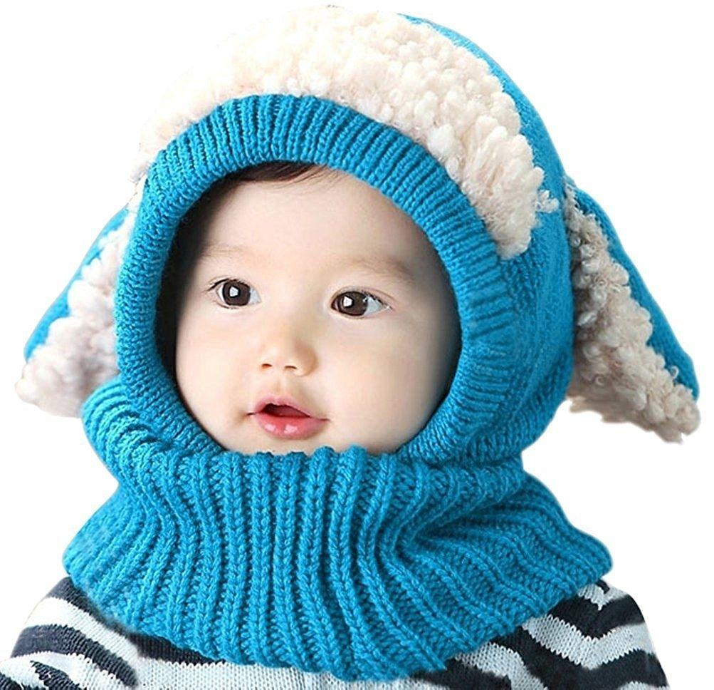Kleinkind Baby Strickmütze Winter Wollgarn Beanie Hut Kapuzen Schal Earflap