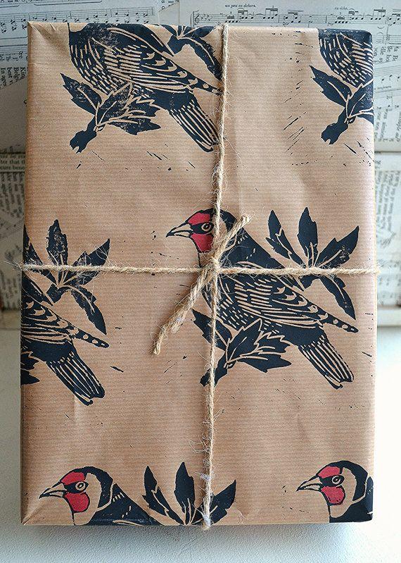 Hand Printed Goldfinch British Bird Gift Wrap - One Sheet - 50 x 70 cms More