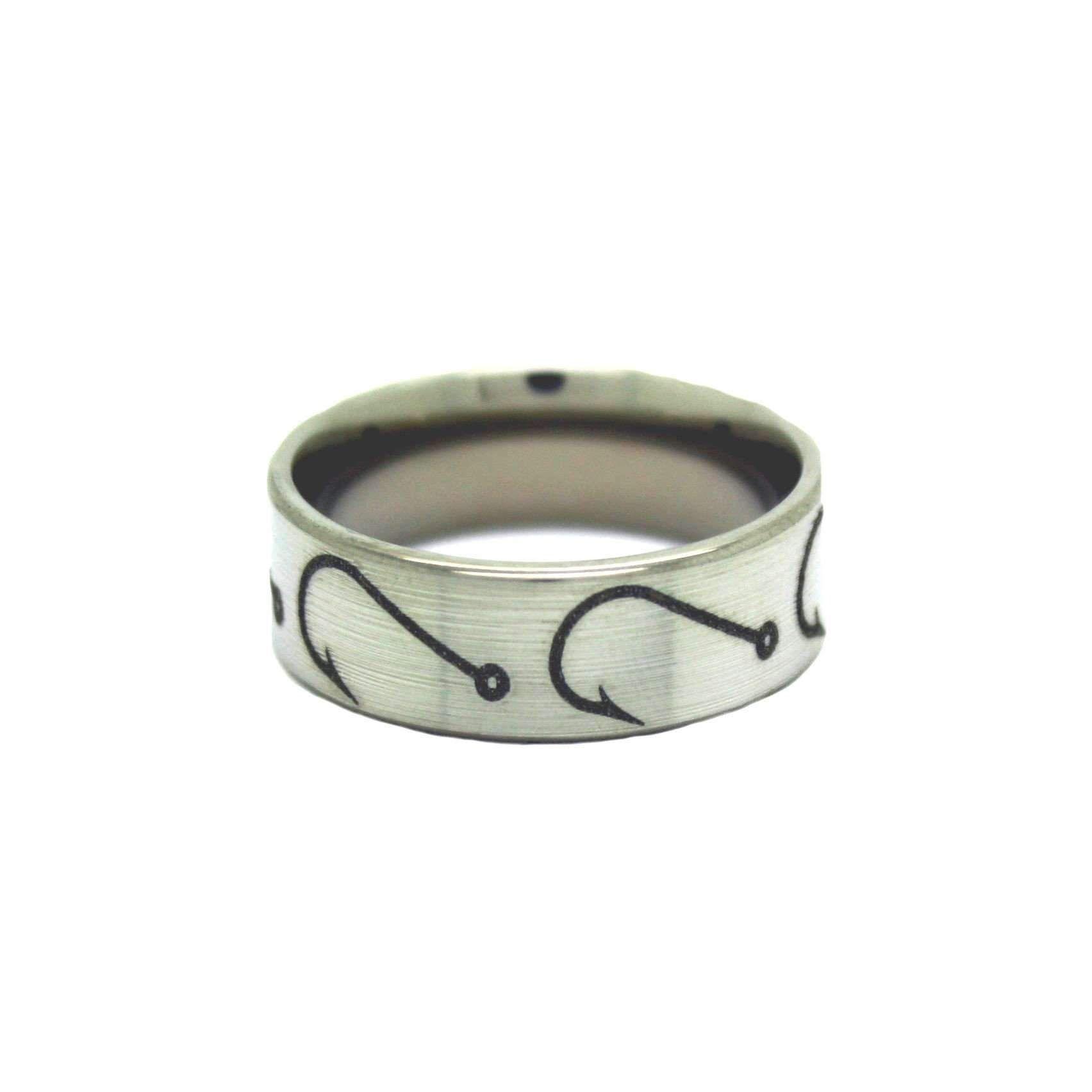 Fishing Hook Wedding Rings Fish Hook Band By One Camo Titanium Rings For Men Mens Wedding Rings Titanium Camo Wedding Rings