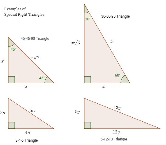 Special Right Triangles Examples Worked Solutions Videos Special Right Triangle Triangle Worksheet Right Triangle