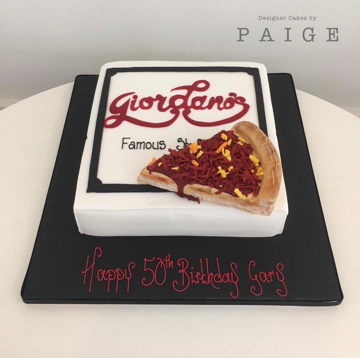Mans 50th birthday pizza box birthday cake pizza