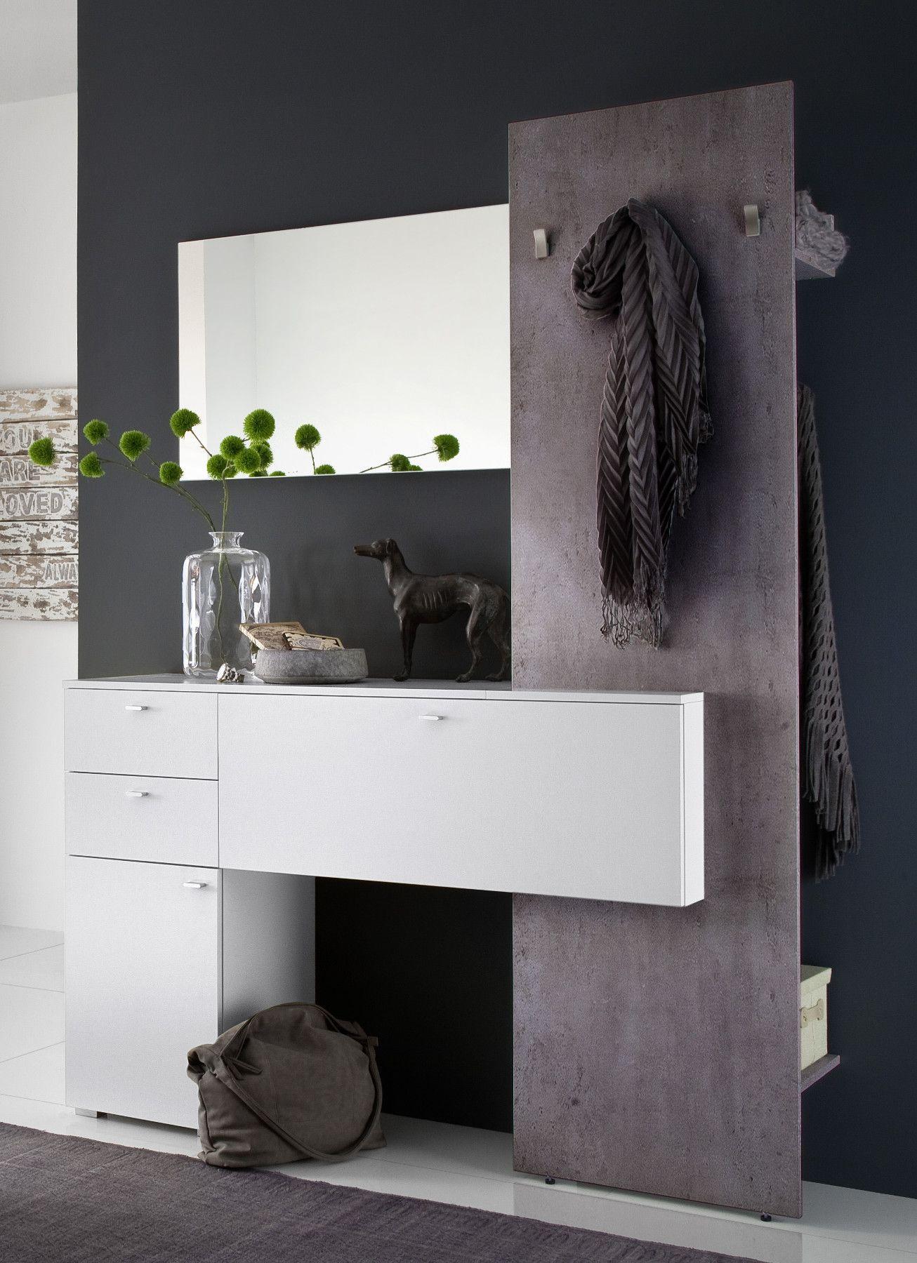 Garderobenset Weiss Betonoptik Scaron3 Designermöbel Moderne