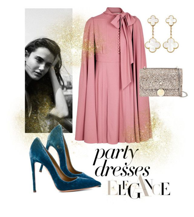 """#PolyPresents: Party Dresses"" by marrrriyam ❤ liked on Polyvore featuring Valentino, Aquazzura, Jimmy Choo, Van Cleef & Arpels, contestentry and polyPresents"