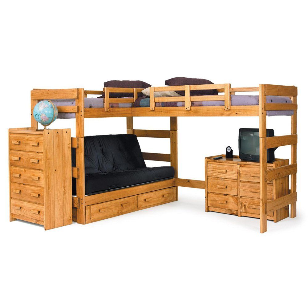 Loft bed plans with desk and shelves  Chelsea Home  L Shaped Loft Bed with Optional Underbed
