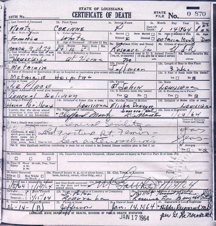 death certificate, louisiana (louisiana dept of vital records, new ...
