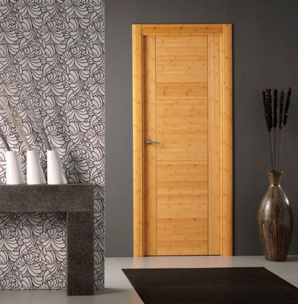Puerta de interior moderna modelo moderna 8200 bamb de for Puertas de madera interiores modernas
