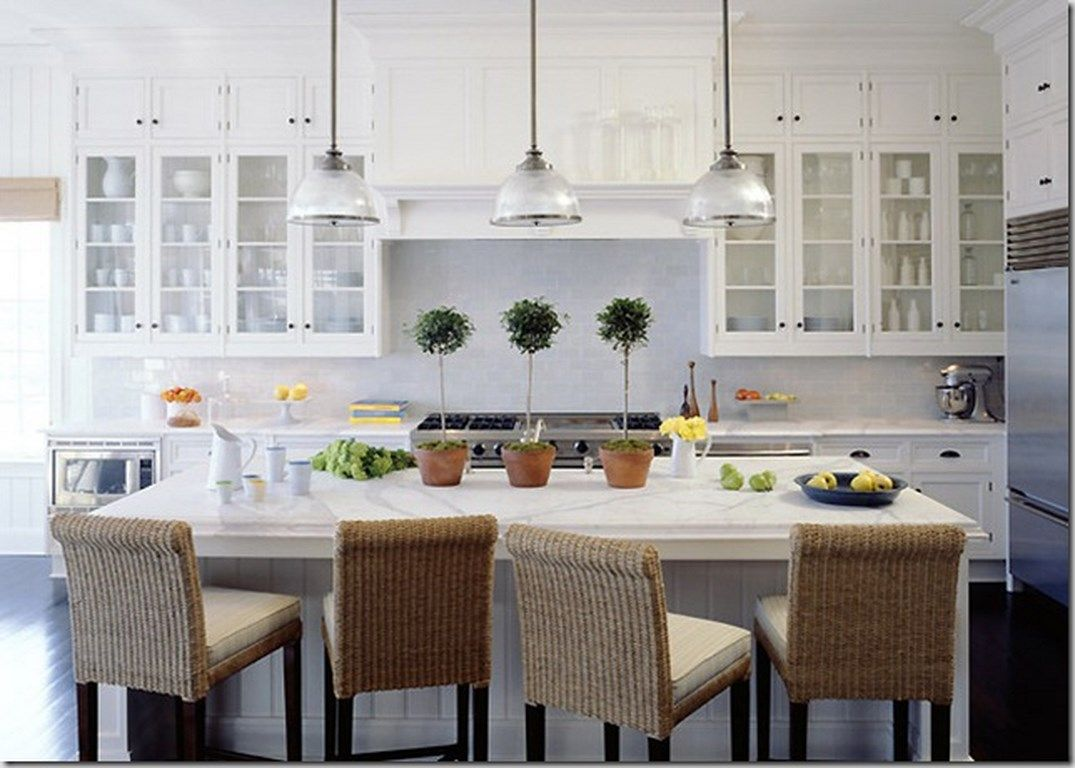 Bright Kitchen with Glass Cabinets | home style | Pinterest | Glass ...