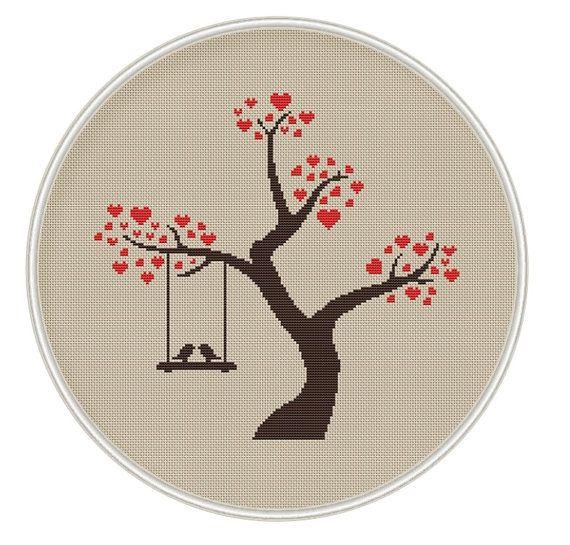 Сross stitch pattern, Instant Download, Free shipping, Cross-Stitch PDF, Love tree with bird, Valentine's Day