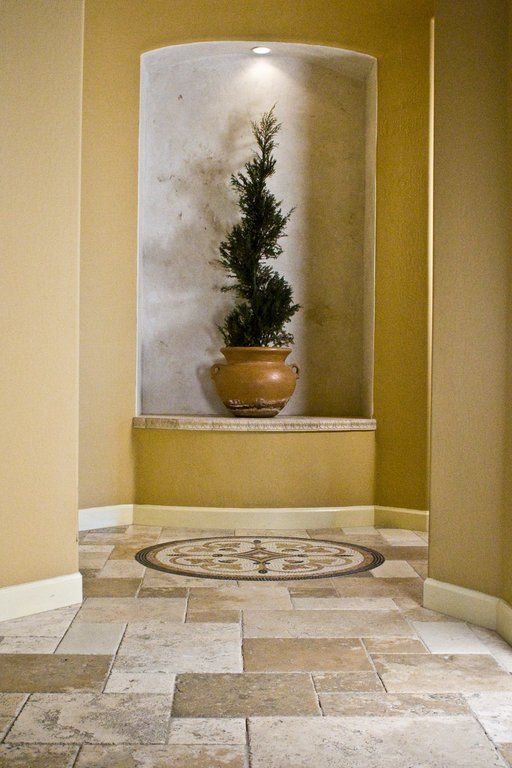 Inset Wall Niche Natural Stone Bottom Trim With Gray