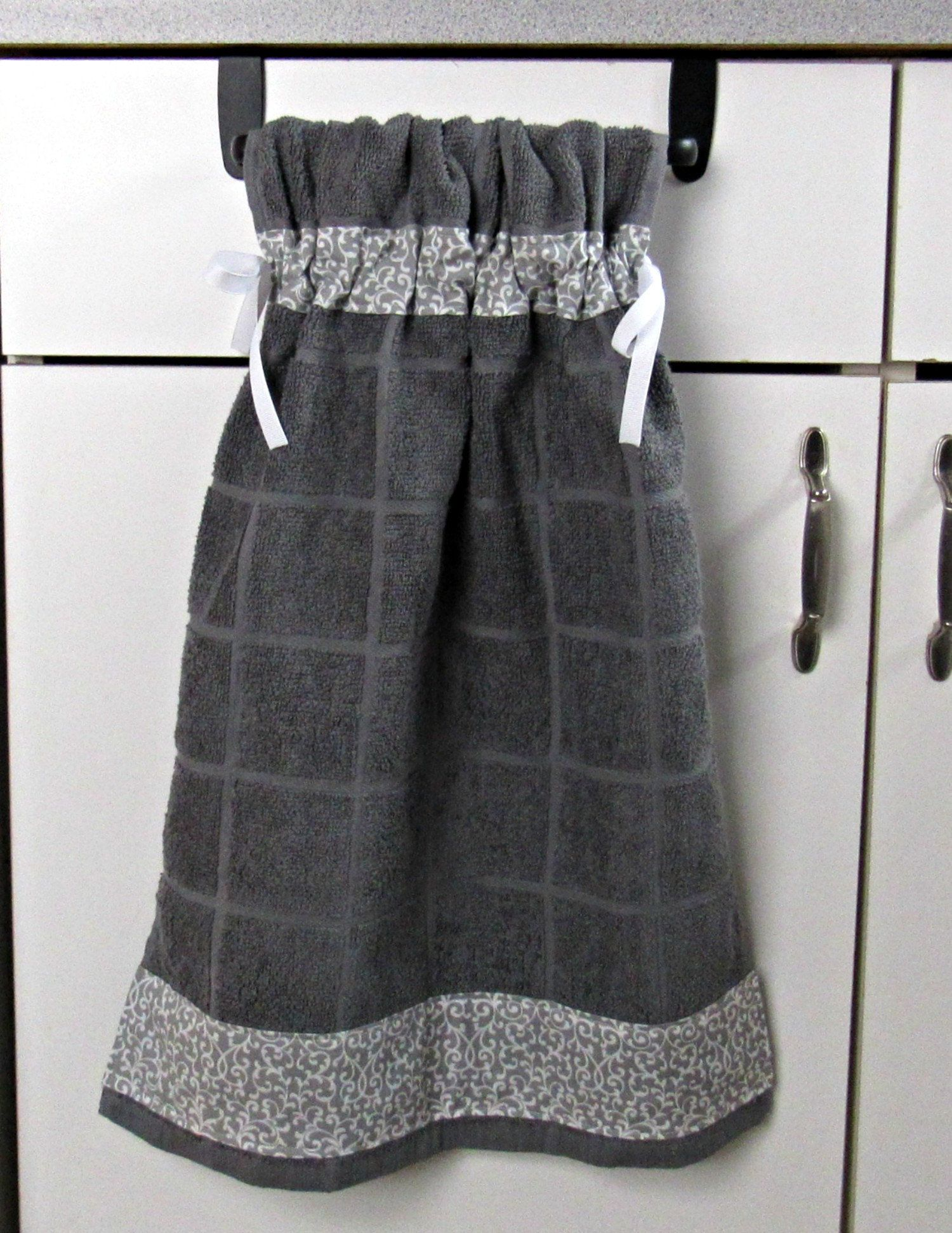 Tie Top Towels Dark Gray Cotton Kitchen Towel Accented With Gray