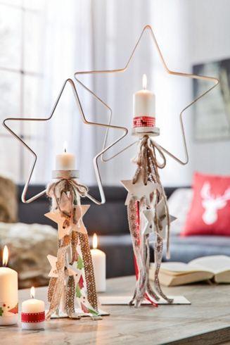 Weihnachtlicher Kerzenständer in Sternform - für stimmungsvolles Ambiente
