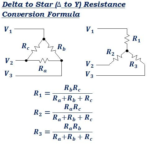 formula to convert Delta to Star (Δ to Y) equivalent