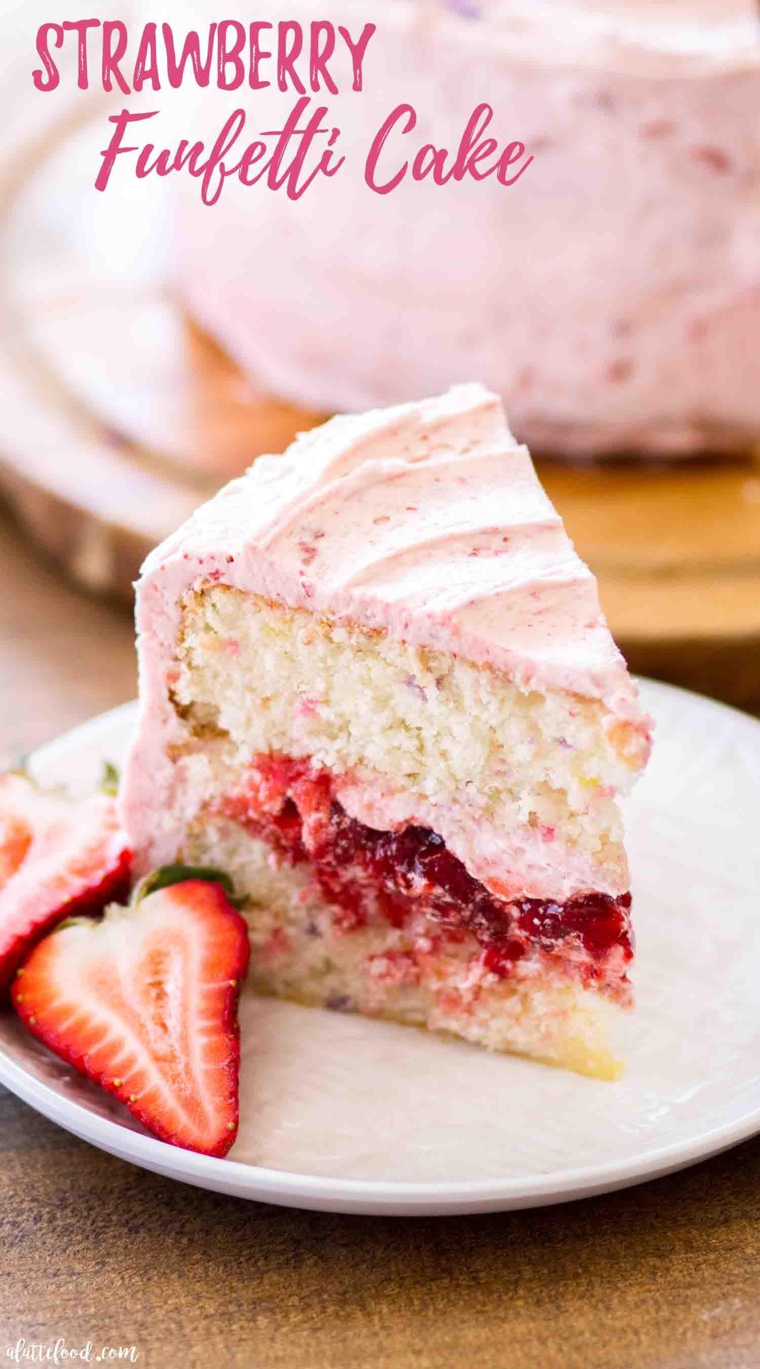 Sensational Homemade Strawberry Funfetti Cake Filled With An Easy Strawberry Funny Birthday Cards Online Amentibdeldamsfinfo