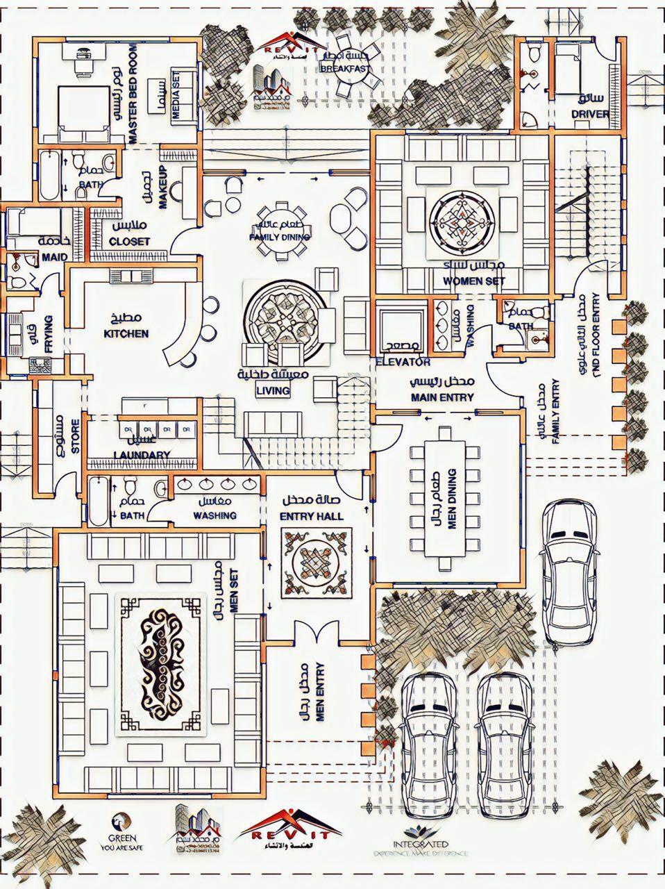 تصميم مميز لفيلا تصميم فيلا Arabian Villa Design للتواصل لجميع عمل التصميمات Egyrevit تويتر House Floor Design House Floor Plans Classic House Design