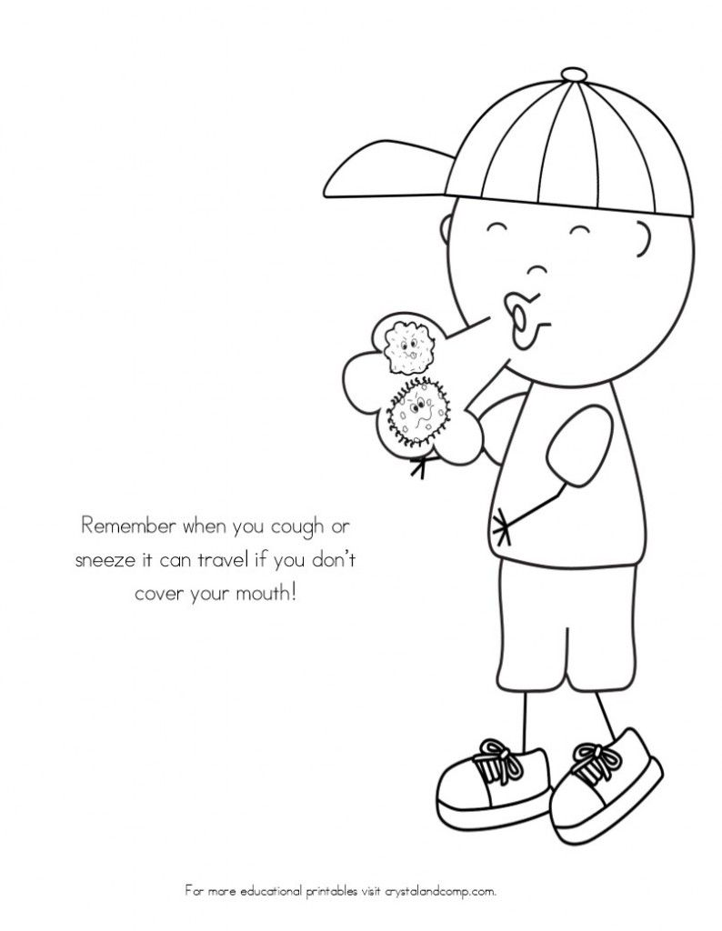No More Spreading Germs Coloring Pages for Kids | Teach Your ...