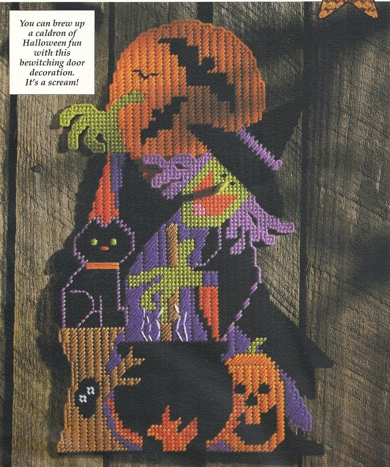 Halloween Witch Door Sign Plastic Canvas Pattern Black Cat Wall Decoration PC-028 by PatternMania3 on Etsy
