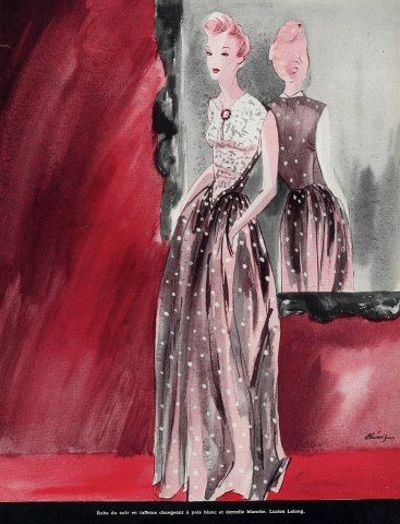 Lucien Lelong | Maggy Rouff 1941 Bénigni, Evening Gown, Fashion Illustration