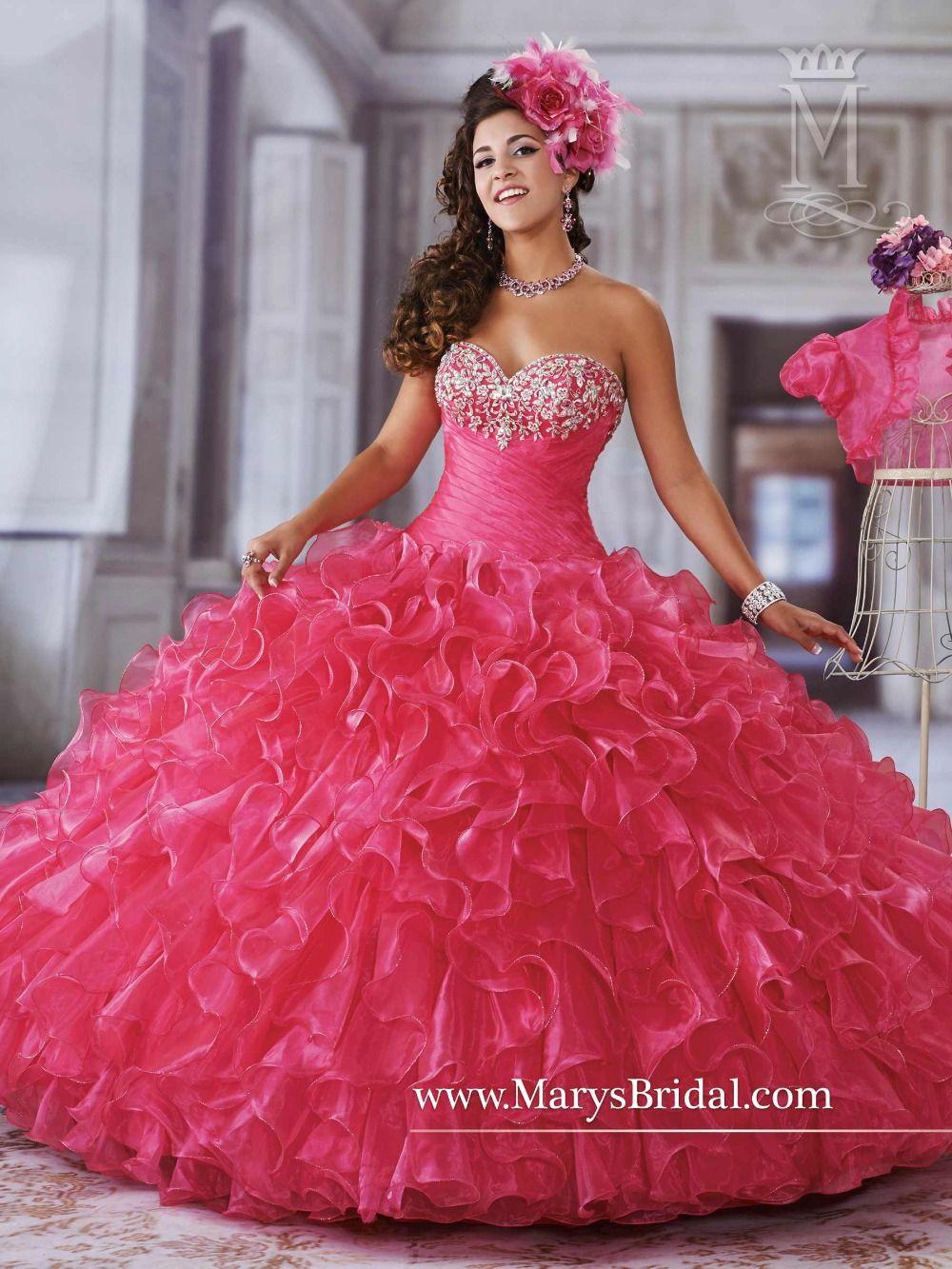 Moda rosa quinceañera vestidos 2016 del Organza con la chaqueta ...