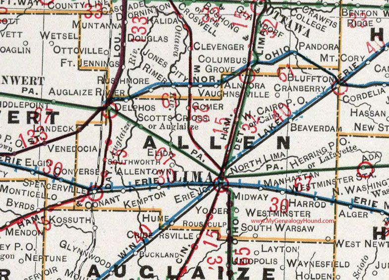 Allen County Ohio 1901 Map Lima Oh Delphos Elida Spencerville Bluffton Beaverdam Cairo Lafayette Ohio Map Ohio History Ohio County