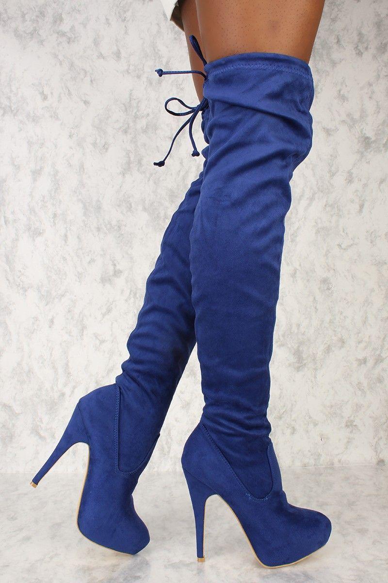 a75d8fb52fd Sexy Royal Blue Platform Pump Thigh High Ami Clubwear Boots ...