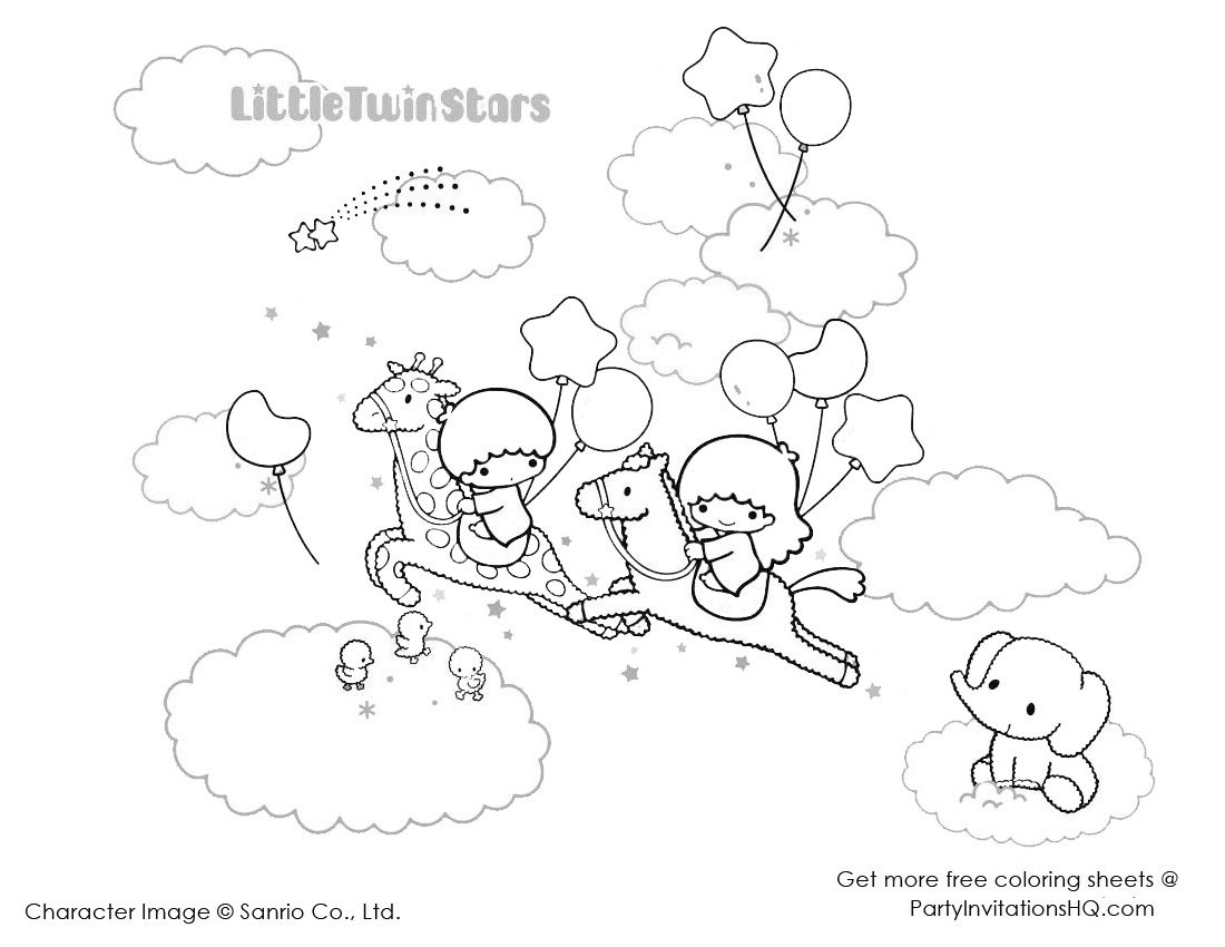 little twin stars colouring sheets collection pinterest