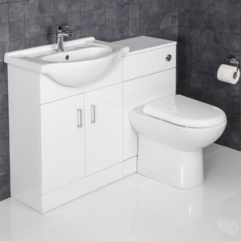Essence White Gloss D Shaped Toilet Basin Vanity Unit 1150mm Width 300mm Depth Bathroom Vanity Units Bathroom Vanity Trends Vanity Units