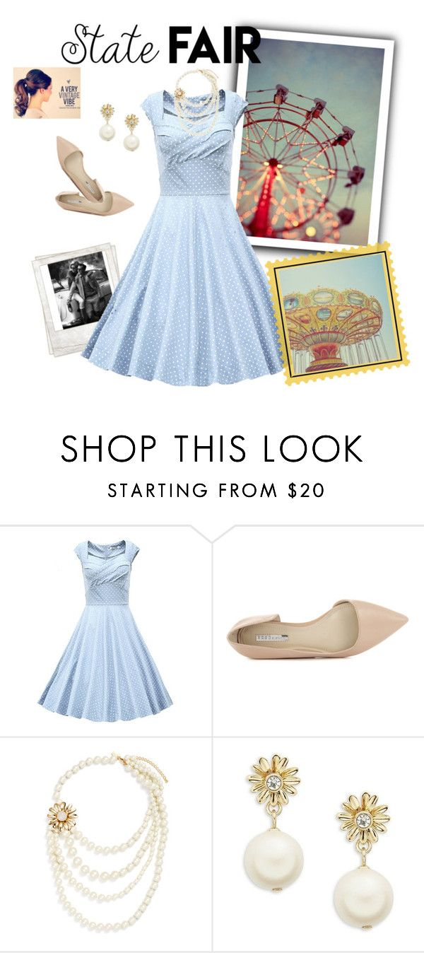 """Retro summer date"" by caitlin-ross-1 ❤ liked on Polyvore featuring Polaroid, BCBGeneration, Kate Spade, statefair and summerdate"