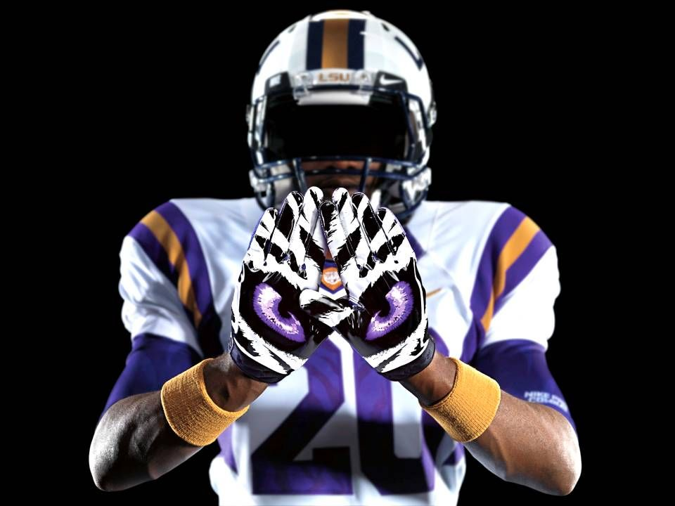 purple and gold nike football gloves