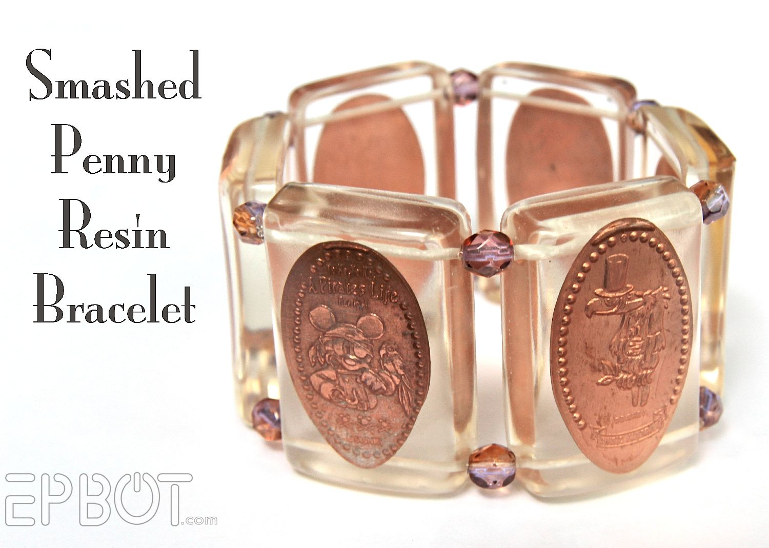 Smashed Penny Resin Bracelet-Relatively simple-don't know if I'll actually ever do it...but I have a lot of smashed pennies from Disney parks, so the pin is worth a save if I ever get the urge to do something with them. Also, this is really cute and super cool.