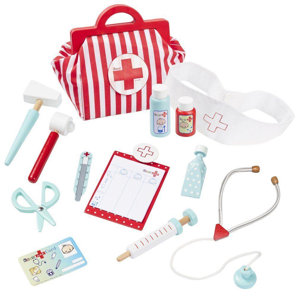 howa Kinderarztkoffer mit 13 tlg. Inhalt aus Holz 4872 | Geschenke ...