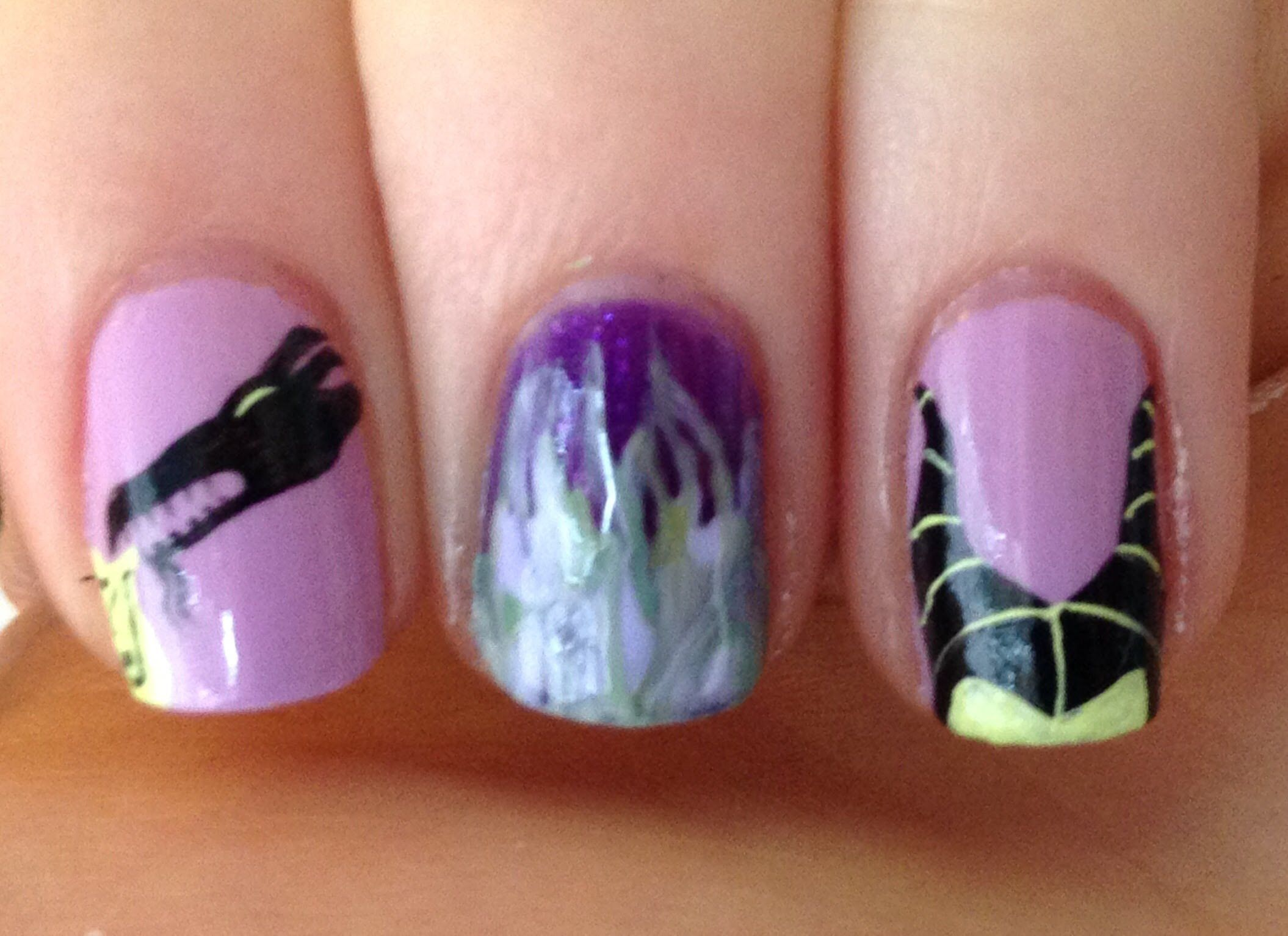 Disney Villains ~ Maleficent Nail Art Tutorial | All Done Up ...