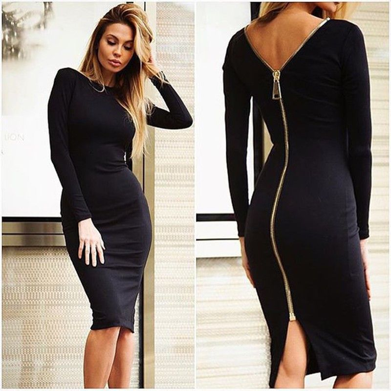 77c1b5adc79 Bodycon Sheath Dress Little Black Long Sleeve Party Dresses Women Clothing  Back Full Zipper Robe Sexy Femme Pencil Tight Dress