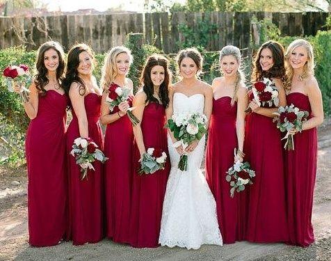 Long Bridesmaid Dress Sweetheart Chiffon Por Dark Red Pd190364