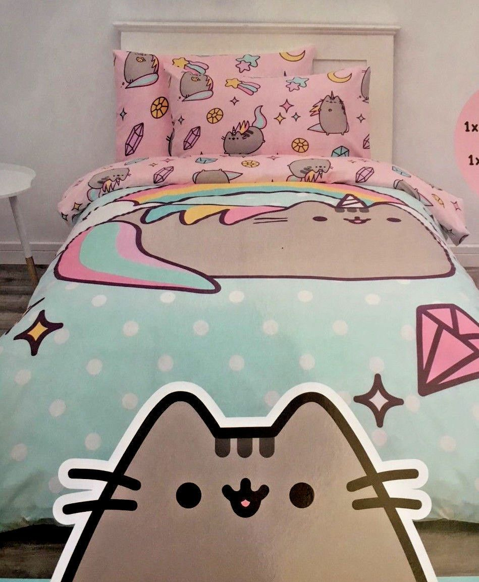 PUSHEEN the tabby cat SINGLE bed QUILT DOONA COVER set new