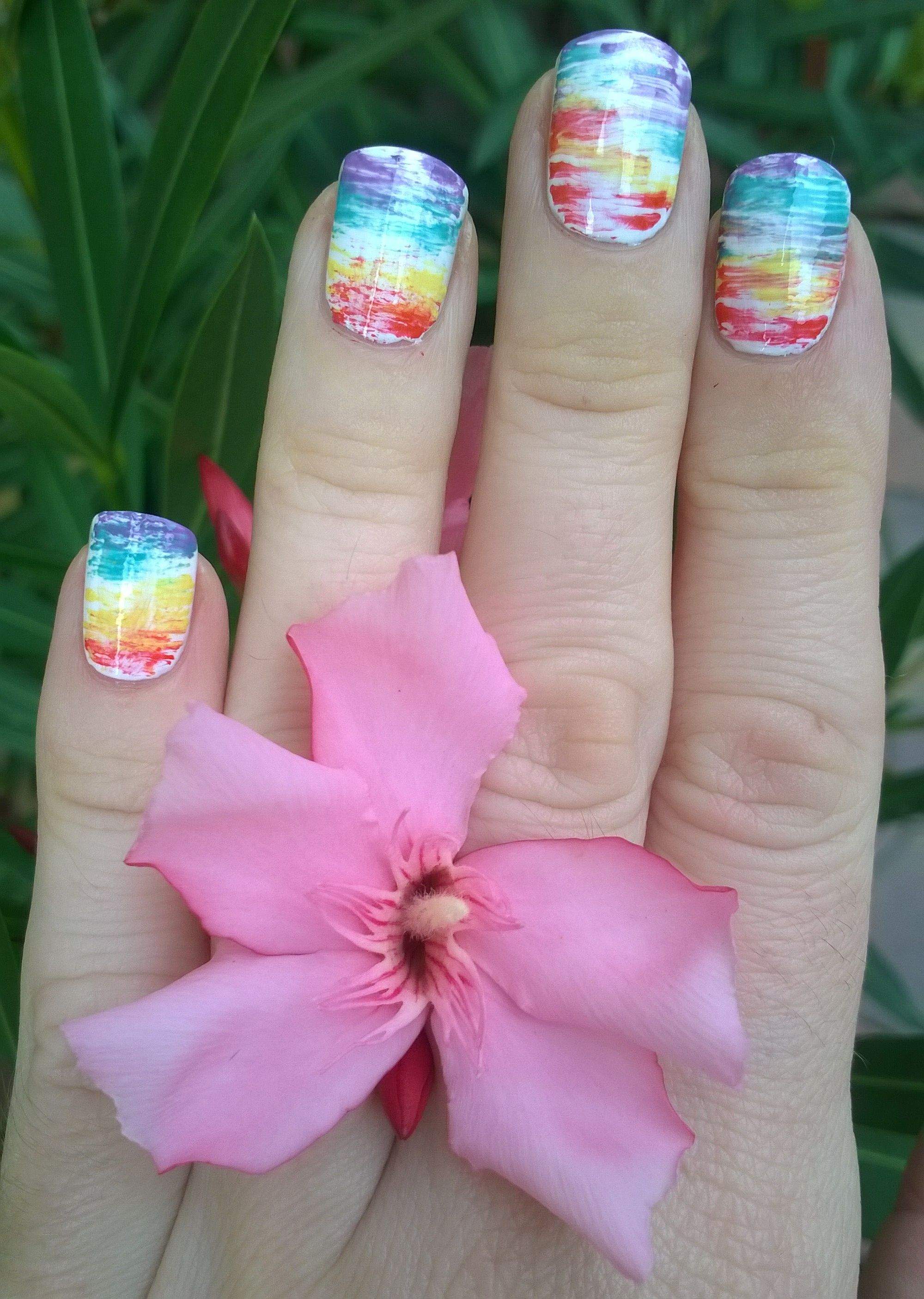 Easy nail art designs at home - Rainbow nails with multi effect fan ...