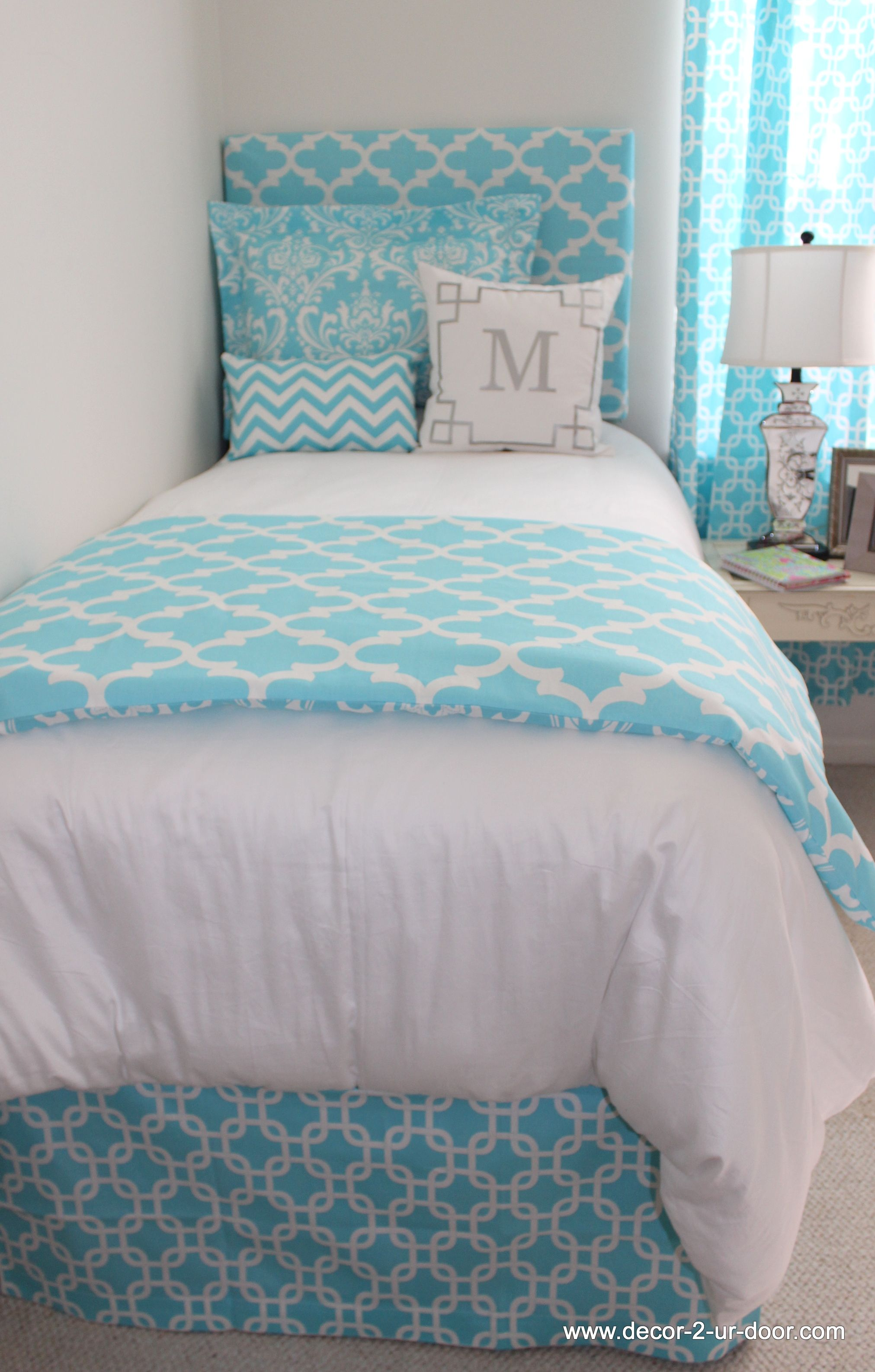 Bright blue bedding - Bright Blue Bedding Perfect For Home Or Dorm Popular Fretwork Or Quadrafoil Pattern Monogrammed Metallic