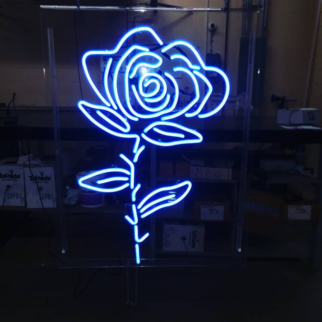 Horizon Blue Neon Rose For Lakewood Electric Tattoo Lakewood Oh Chuckuhler We Appreciate The Business Blue Neon Lights Pink Neon Sign Vintage Neon Signs