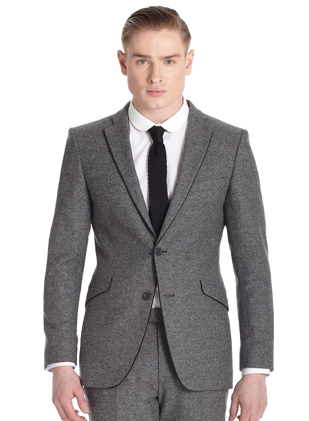 2 Piece Lambretta Grey Textured Slim Fit Suit - Mens Branded Suits - Suits  - Burton