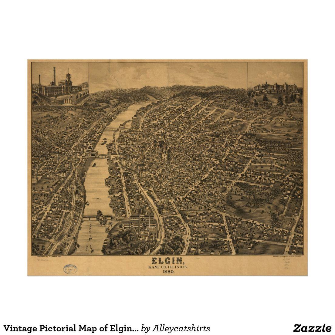 Illinois kane county carpentersville - Vintage Pictorial Map Of Elgin Illinois 1880 Poster