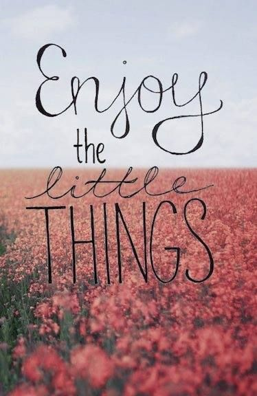Your life will be so much happier if u do enjoy all the little things in life, cause usually the little things are what madder the most